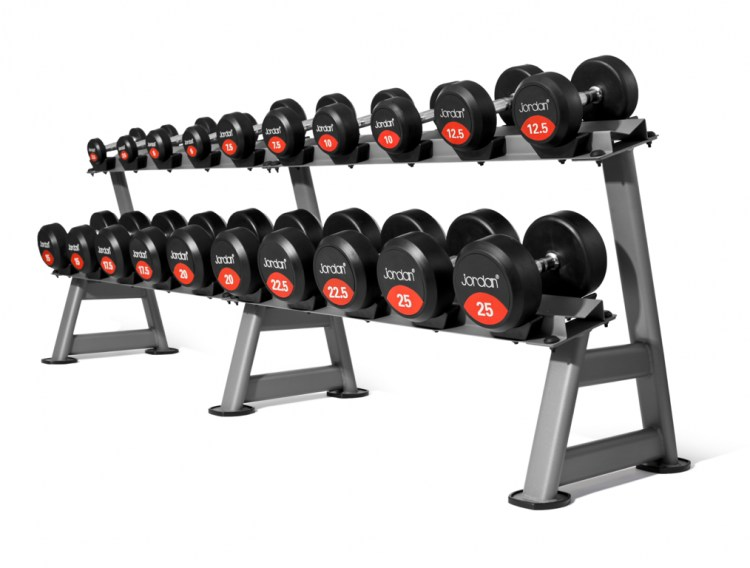 jtdr-08-10n-10-pair-2-tier-horizontal-dumbbell-rack-classic-rubber-solid-end-dumbbells-on-rack